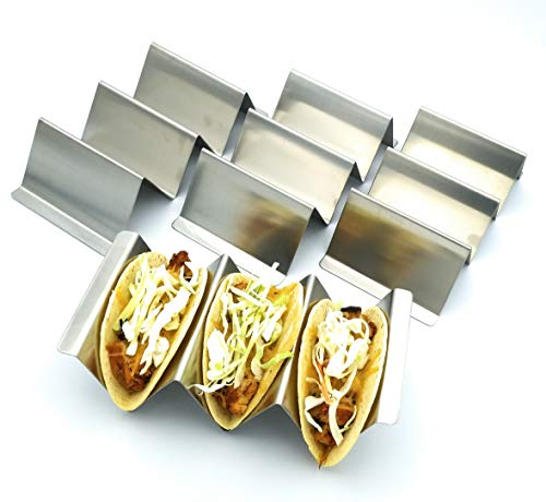 Free Recipe Book | Taco Holders Package of 4 | Stainless Steel Rack Stand | Taco Holder | Premium | Taco Tray | Oven and Grill Friendly | Bake Goods Stand | Street Taco Holder | For Large Tacos