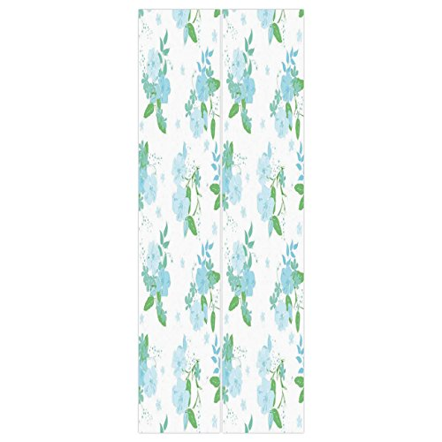 3d Door Wall Mural Wallpaper Stickers [ Flower,English Country Style Blooming Spring Flowers and Leaves Design Print,Blue Green and White ] Mural Door Wall Stickers Wallpaper Mural DIY Home (English Country Prints Wallpaper)