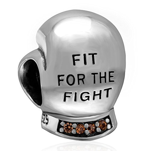925 Solid Sterling Silver 'Fit For the Fight' Boxing Glove w/ CZ Charm Bead by Unknown