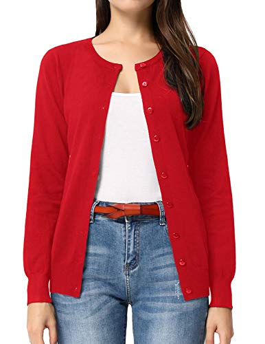 (Womens Plus Size Button up Red Cardigan Sweaters (XL,Red))