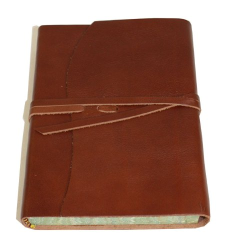 Roma Luxury Brown Italian Leather Journal With Marble Edged Paper - 12 x - Italian Leather Journal Edged
