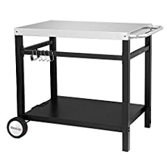 The Double-shelf Wheeled Dining Cart Table, is a simple design for outdoor cooking, kitchen or serving area. The mixture of stainless steel and metal creates an easy and durable structure that will keep your family and friends comfort while e...