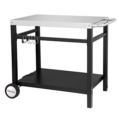 Royal Gourmet Double-Shelf Movable Dining Cart Table,Commercial Multifunctional Stainless Steel Flattop Worktable PC3401S ()