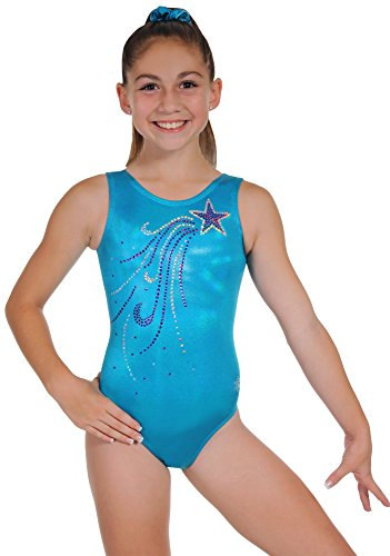 Snowflake Designs Leotards - Snowflake Designs Turquoise Glowing Gymnastics Tank Leotard (Adult Extra Small)