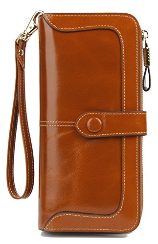 Anvesino Women's RFID Blocking Real Leather Wallet Ladies Zipper Wristlet Clutch Camel