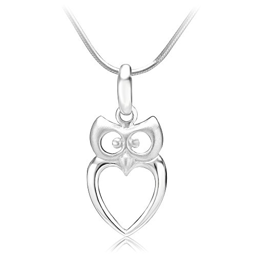 925 Sterling Silver Owl Bird Heart Shaped Charm Pendant Necklace, 18 inches (Pendant Owl Silver)