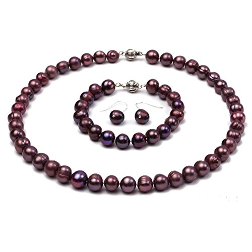 Purple Freshwater Pearl Necklace - JYX Pearl necklace Set 9mm Freshwater Purple Pearl Necklace Bracelet and Earrings Set