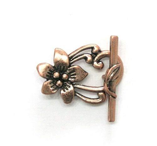 (2 Sets Antiqued Copper Plated Pewter Flower Leaf Toggle Clasps)