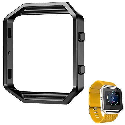 rumas-luxury-stainless-steel-watch-replace-metal-frame-watch-holder-for-fitbit-blaze-smart-watch-bla