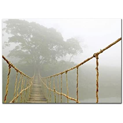 New Ikea Bridge Jungle Journey Picture With Frame and Canvas 55 x 39 Inches