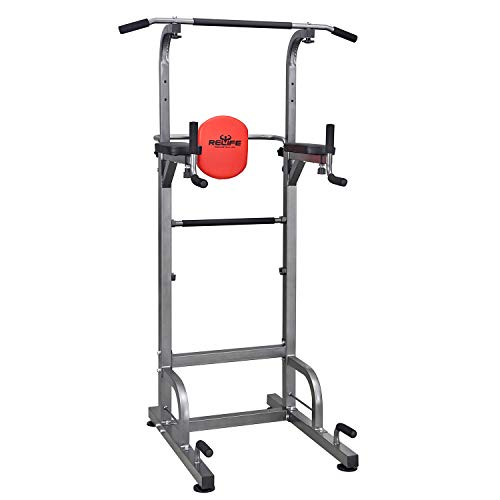 RELIFE REBUILD YOUR LIFE Power Tower Workout Dip Station for Home Gym Strength Training Fitness Equipment Newer Version (Seated Dip Machine)