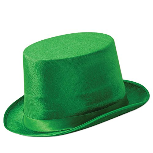 Green Leprechaun Hat (Green Vel-Felt Top Hat Party Accessory (1 count) (1/Pkg))
