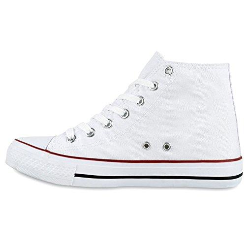Stiefelparadies Damen Sneaker High Camouflage Sneakers Denim Stoffschuhe Schnürer Canvas Schuhe Freizeit Turnschuhe Flats Übergrößen Flandell Weiss Rot