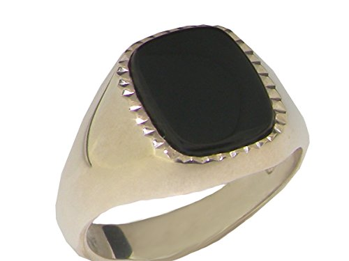 Solid 925 Sterling Silver Natural Onyx Mens Gents Signet Ring - Size 11.75 - Sizes 6 to 13 Available ()