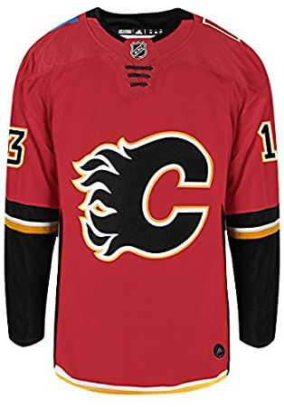 b2be357eb5a Johnny Gaudreau Calgary Flames Adidas Authentic Home NHL Hockey Jersey,  Jerseys - Amazon Canada