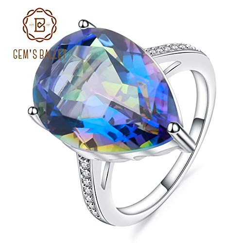 - Natural Rainbow Mystic Quartz Ring | 925 Sterling Silver Gemstone Cocktail Rings for Women | Fine Jewelry (10.67ct)