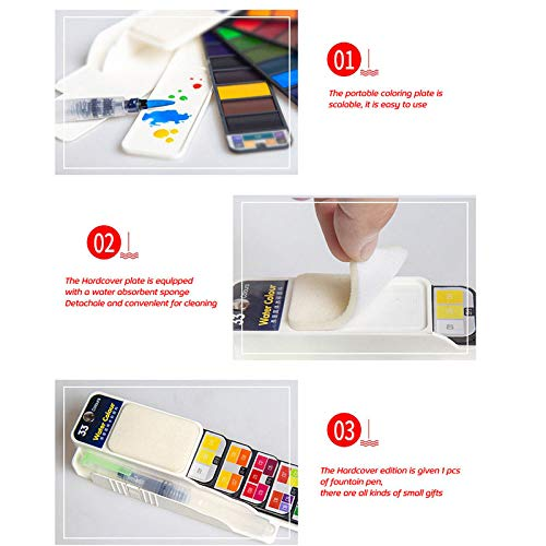 Wildlead Color Paint Set with Water Brush Pen Watercolor Pigment for Drawing Art Supplies