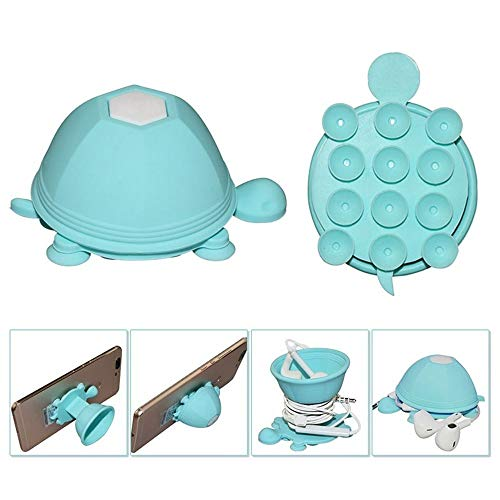 Gotian Durable Silicone Funny Cute Turtle Shaped Cable Earphone Winder Mobile Phone Holder Stand Top (Blue)