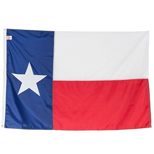 Texas State Flag 3x5 Heavy Duty - 100% Made in USA Flags - 200D Embroidered Nylon Lone Star Banner, Quadruple Stitched Fly End, Weather-Resistant & Vibrant, Durable Brass Grommets For - Universities Fort Texas Worth In