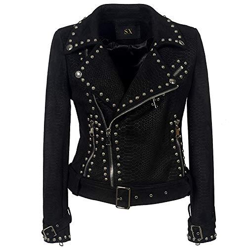 (Women's Snake Skin Suede Leather Jacket Studded Asymmetric Zipper Slim Fit Short Moto Biker Coat Black)