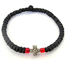 Handmade Christian Orthodox Komboskoini, Prayer Rope Bracelet Black - 5607b