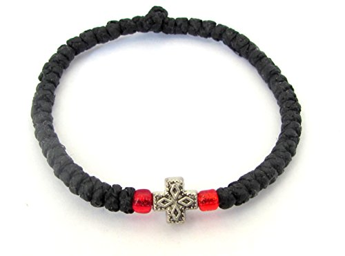 (Handmade Christian Orthodox Komboskoini, Prayer Rope Bracelet Black -)