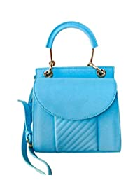 TADA Planet Women's Genuine Leather Shoulder Crossbody Handbag Small Size Blue