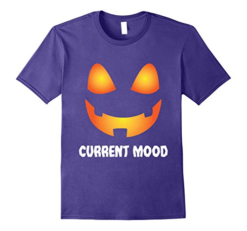 [Mens Spooky Funny Halloween Gift Tees | Pumpkin Face Current Mood 2XL Purple] (Current Halloween Costume Ideas)