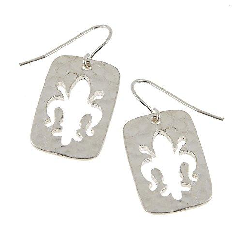 Cut-out Rectangle Simple Theme Boutique Style Dangle Earrings (Silver Tone Fleur De Lis)