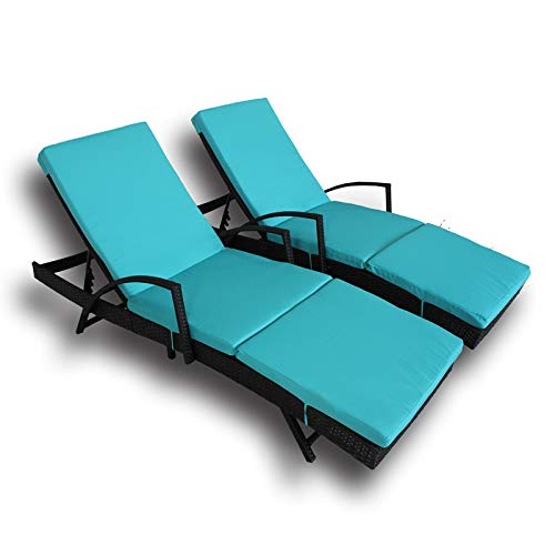 LEAPTIME Patio Lounge Chair Outdoor Rattan Chaise with Armrest Adjustable Black PE Wicker Sunbed Furniture with Turquoise Cushion-Set of 2