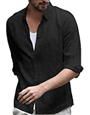 GAGA Mens Casual Relaxed Fit Cotton Linen Button Down Long Sleeve Tops Shirt