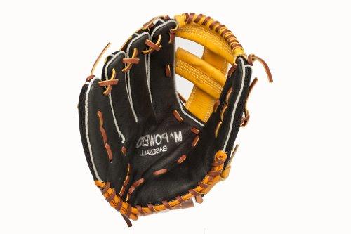 Mpowered Baseball Youth Ultra Lite Single Post Baseball Glove, Black and Tan, Left Hand ()
