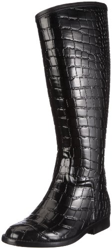 BE ONLY BOTTE CAVALIERE CROCO NOIR Damen Stiefel Schwarz/Black