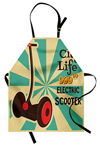 Segway Costume (Vintage Apron by Ambesonne, Segway Electric Scooter Icon on Foreground of Pop Art Style Stripe Urban Transport, Unisex Kitchen Bib Apron with Adjustable Neck for Cooking Baking Gardening, Multicolor)