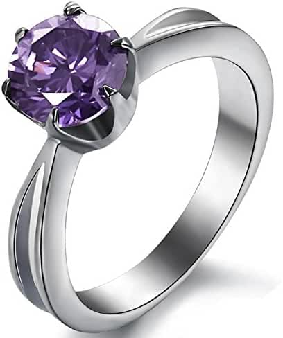 Womens Stainless Steel Cut Purple CZ Engagement White Gold Ring Prong Set Silver Cocktail Finger Band