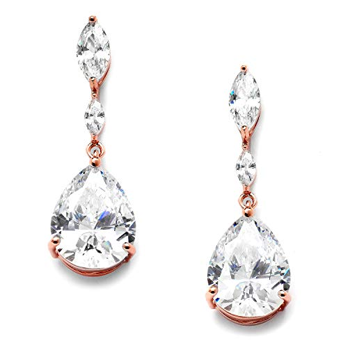 Mariell Rose Gold Cubic Zirconia Marquis and Pear-Shaped Dangle Earrings for Bridal, Prom or Bridesmaids ()