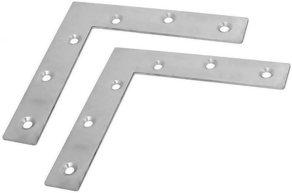 BTMB 2 Pcs Stainless Steel Furniture Flat Right Angle Bracket L Shape Corner Brace Repair Plate 120x120mm/4.7''x4.7''
