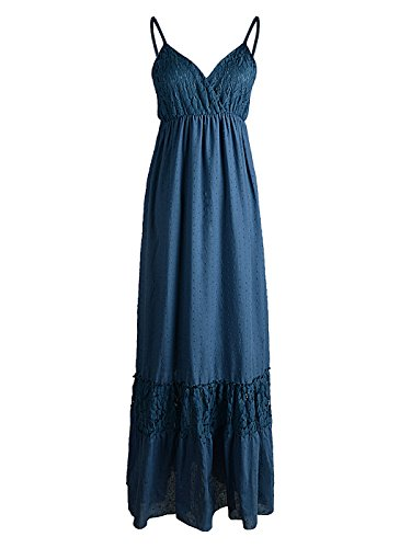 Kaci Boho Sleeveless Strap Dress Womens Adjustable Maxi Blue Spaghetti Anna Lace Long FdCwqawWx