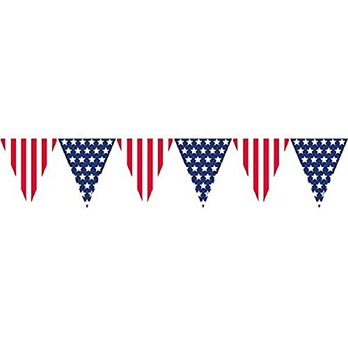 Amscan Amazing Patriotic Pennant Banner, 12, Red/White/Blue (Value 2-Pack)]()