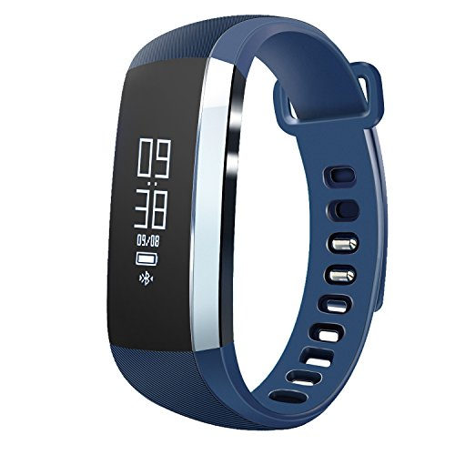 Fitness Tracker, Heart Rate Monitor Wireless Waterproof IP67 Activity Wristband Smart Bracelet Watch with Sports Pedometer Calorie Counter for IOS & Android Smartphone (Blue)