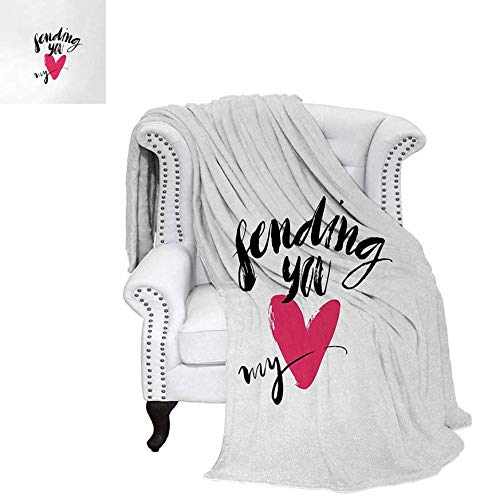 Warm Microfiber All Season Blanket Ink Brush Hand Lettering Sending You My Heart Modern Calligraphic Design Print Artwork Image 60