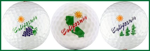 - California w/ Grapes, Map and Trees Golf Ball Gift Set
