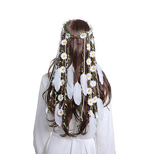 Flower Hippie Headband Floral Crown - AWAYTR Behemain Sunflowers Beads Adjust Flower Headdress Hair Accessories (Mixed- White) ()