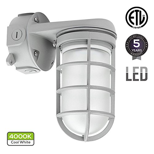 Cool Light Fixtures (LED Vapor Proof Outdoor Fixture, 20W (70W MH/HPS Equivalent), 4000K Cool White, ETL-listed, Weather Tight Wall Mount Light)