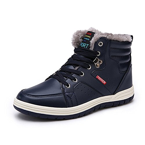 Colorxy Mens Leather Non-Slip Snow Boots Lace Up High Top Ankle Sneakers Fur-Lining Winter Shoes, Blue (Sneakers Mens Leather Shoes Sport)