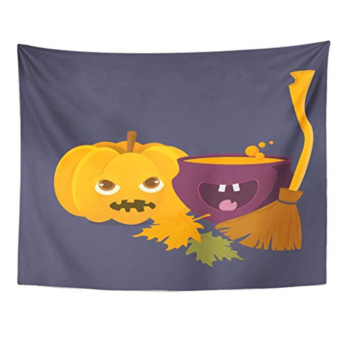 Tarolo Decor Wall Tapestry Cartoon Witch Cauldron Magic Boiling Soup Potion and Halloween Pumpkin Squash Jack O Lantern Broom Besom 80 x 60 Inches Wall Hanging Picnic for Bedroom Living Room Dorm]()