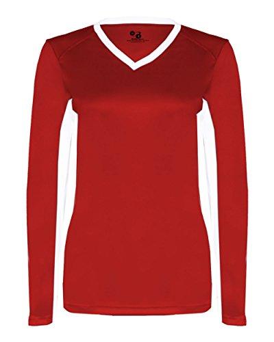 Ladies 2X Red/White Long Sleeve V-Neck Moisture Management Wicking Uniform Jersey Shirt -
