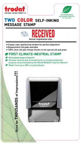Trodat 2-Color Self-inking Stock Stamp - RECEIVED - Red/Blue Ink Photo #2