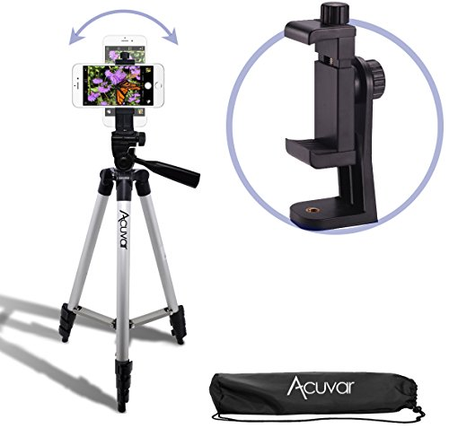 Acuvar 50'' Smartphone/Camera Tripod with Rotating Mount. Fits iPhone X, 8, 8+, 7, 7 Plus, 6, 6 Plus, 5s Samsung Galaxy, Android, etc. by Acuvar