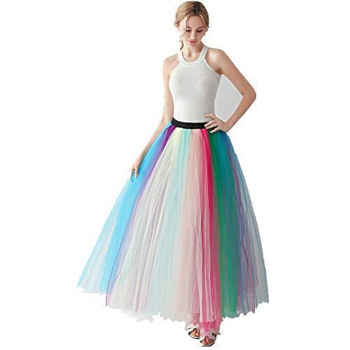 Noriviiq Women's Long Multi-Layer Tulle Rainbow Tutu Petticoat Skirt for Dance Party style1]()